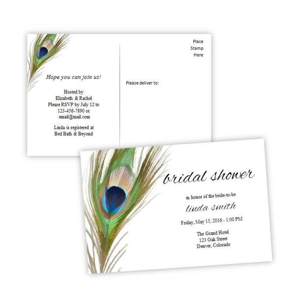 Peacock Feather Bridal Shower Invitation Postcard