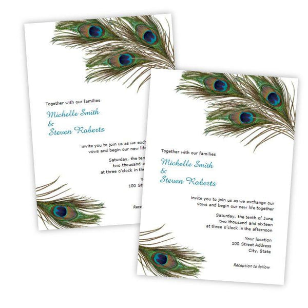 Peacock Feathers Wedding Invitation Template