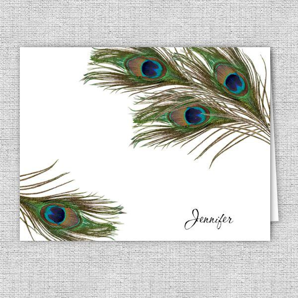 Peacock Feathers Personalized Printed Note Cards
