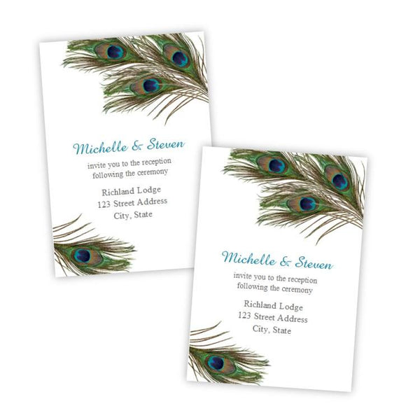Peacock Feathers Wedding Reception Card Template