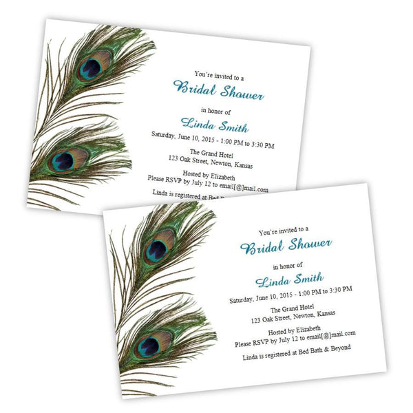 Peacock Feathers Bridal Shower Template