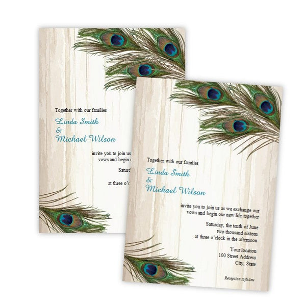 Peacock Feathers on Wood Wedding Invitation Template