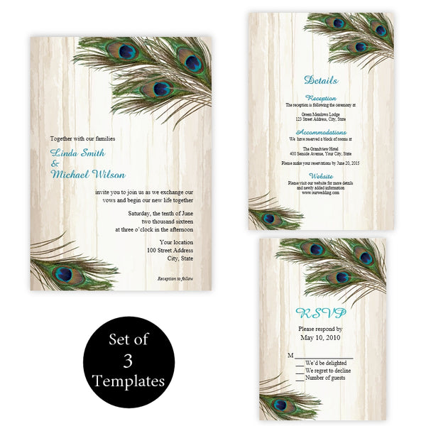 Rustic Peacock Feathers Wedding Suite