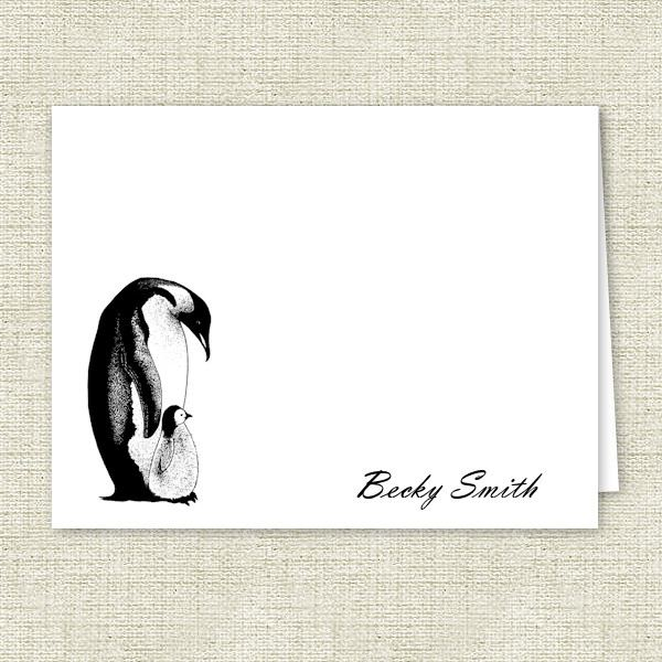 Mom and Baby Penguin Personalized Note Cards