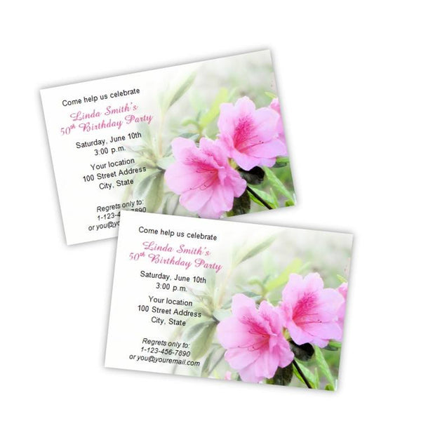 Pink Azalea Birthday Party Invitation Template
