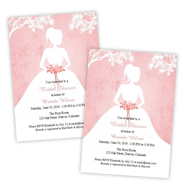 Bride Silhouette Bridal Shower Invitation Template