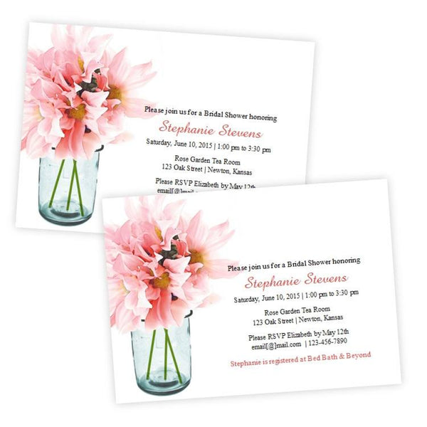 Pink Daisies Mason Jar Bridal Shower Template