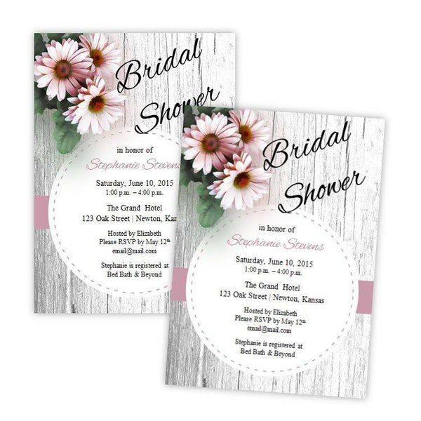 Pink Daisies Rustic Bridal Shower Invitation