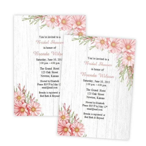 Pink Daisies Country Bridal Shower Template