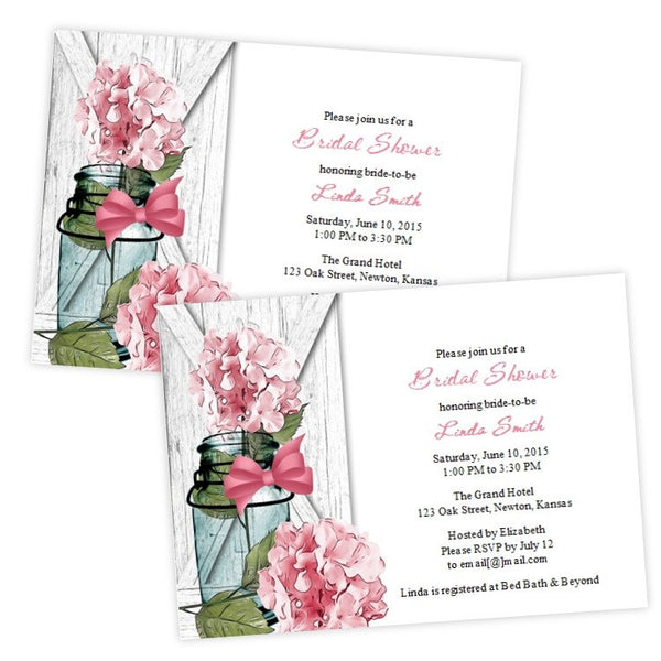 Pink Hydrangea in a Mason Jar Bridal Shower Invitation
