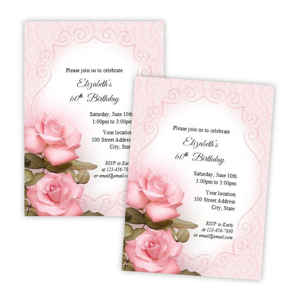 Pretty Pink Roses Birthday Invitation
