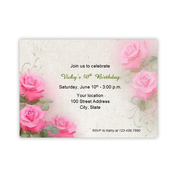 Romantic Pink Roses Birthday Invitation
