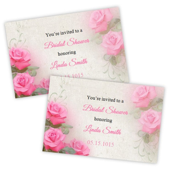 Pink Roses Bridal Shower Invitation Postcard