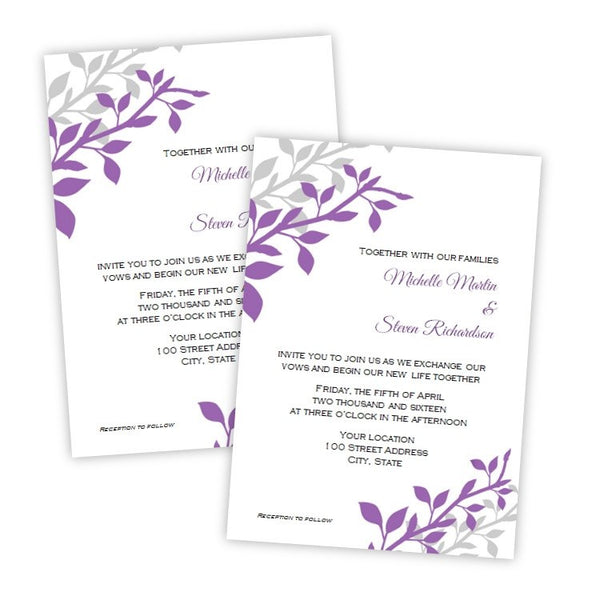 Plum & Gray Branches Wedding Invitation Template