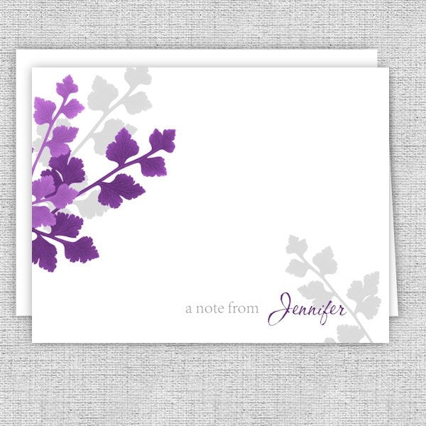 Plum & Gray Leaves Personalized Note Cards