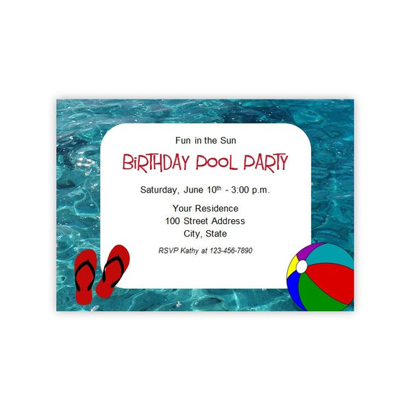 Pool or Beach Party Invitation Template