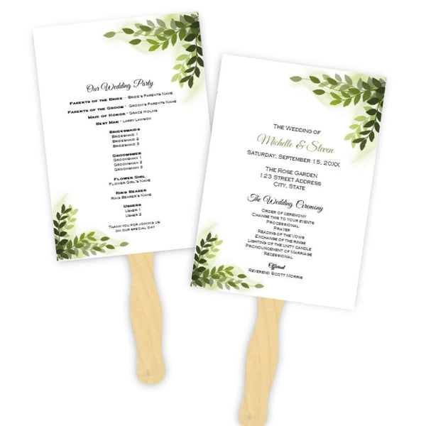 Vines Wedding Program Fan Template