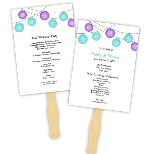 Turquoise & Purple Hanging Lanterns Program Fan