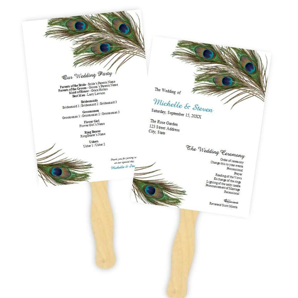Peacock Feathers Wedding Program Fan Template