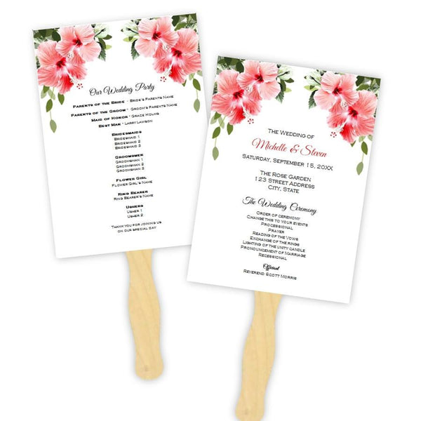 Pink Tropical Hibiscus Flowers Wedding Program Fan Template