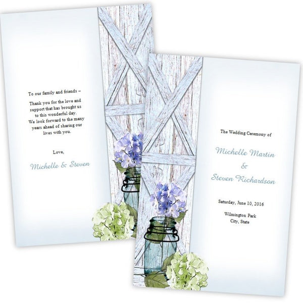 Hydrangea in a Mason Jar Folded Wedding Program Template