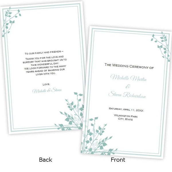 Brittany Design Wedding Program Template AJs Prints
