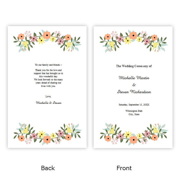 Country Flowers Folded Wedding Program Template