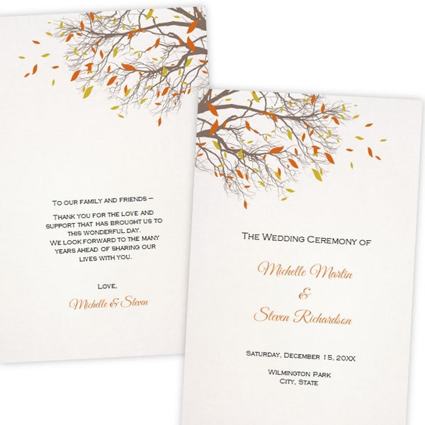 Fall Tree Branches Folded Wedding Program Template