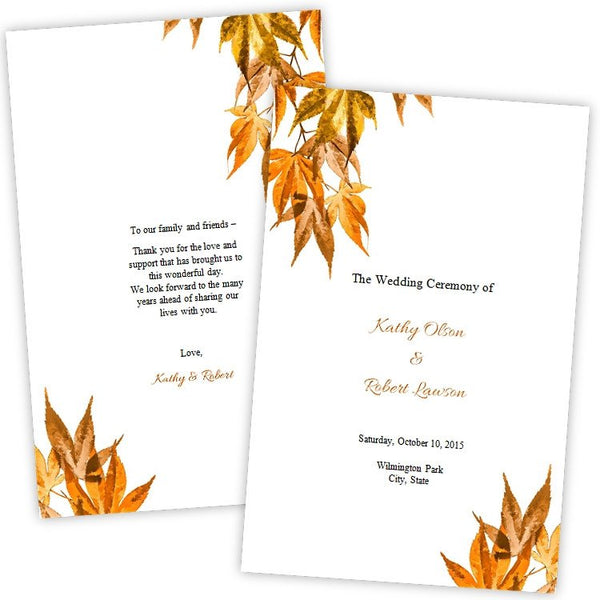 Fall Leaves Folded Wedding Program Template