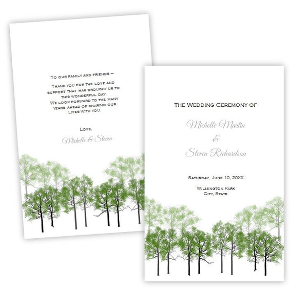 Summer Forest Folded Wedding Program Template