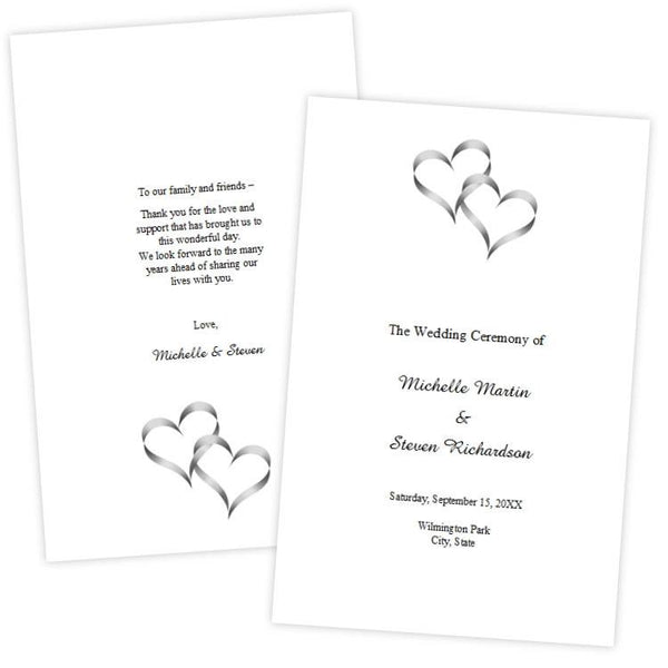 intertwined hearts folded wedding program template a j s prints