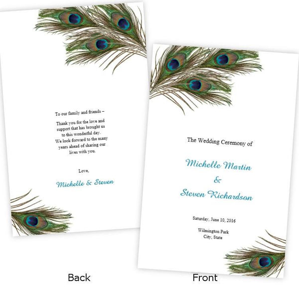 Peacock Feathers Folded Wedding Program Template