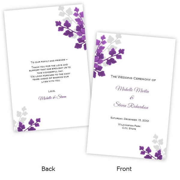 Plum & Gray Leaves Folded Wedding Program Template