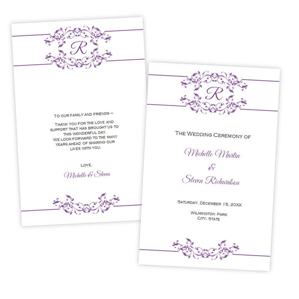 Purple Flourish Monogram Folded Wedding Program Template