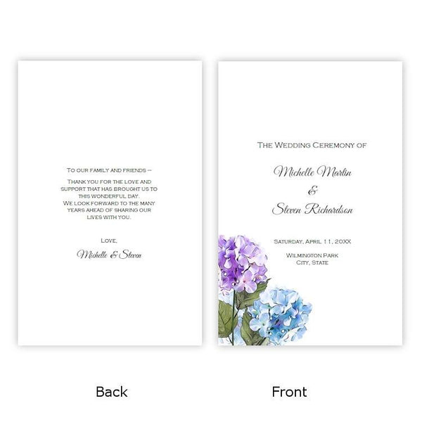 Purple & Blue Hydrangeas Folded Wedding Program Template