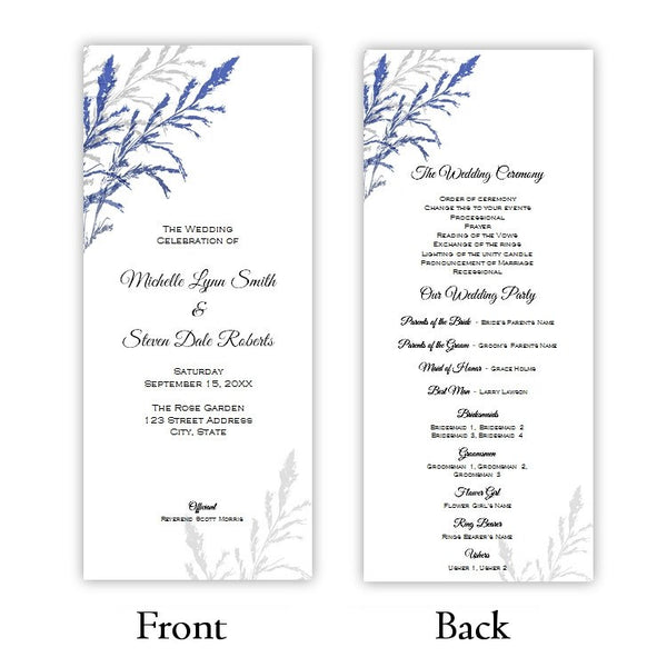 Cobalt Blue & Gray Foliage Tea Length Wedding Program
