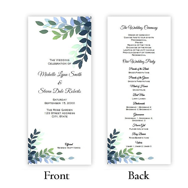 Blue and Green Leaves Tea Length Wedding Program