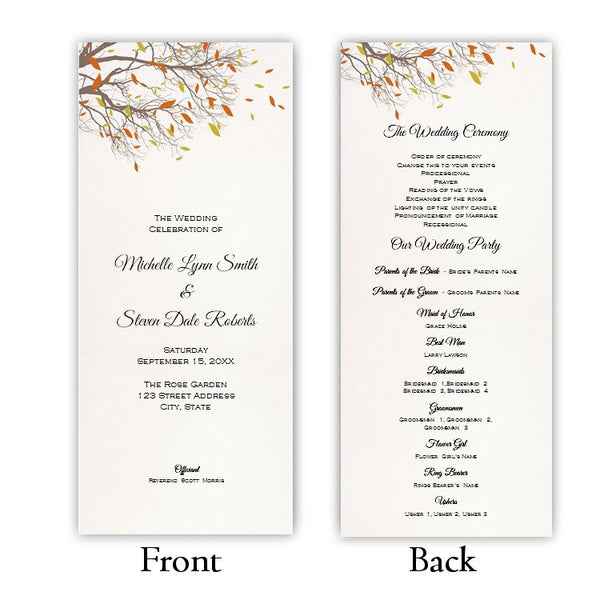 Fall Branches Tea Length Wedding Program Template