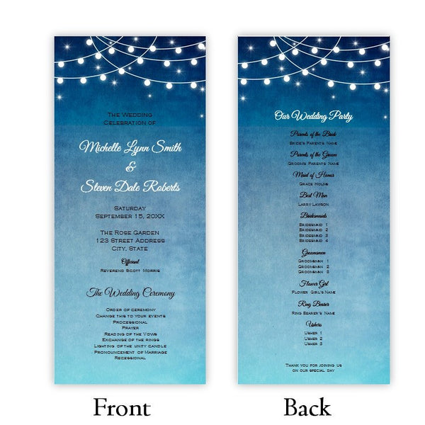 Lights at Night Tea Length Wedding Program