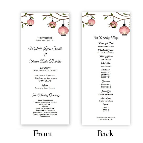 Peach Lanterns Tea Length Wedding Program