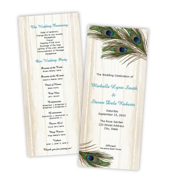 Peacock Feathers on Wood Tea Length Wedding Program