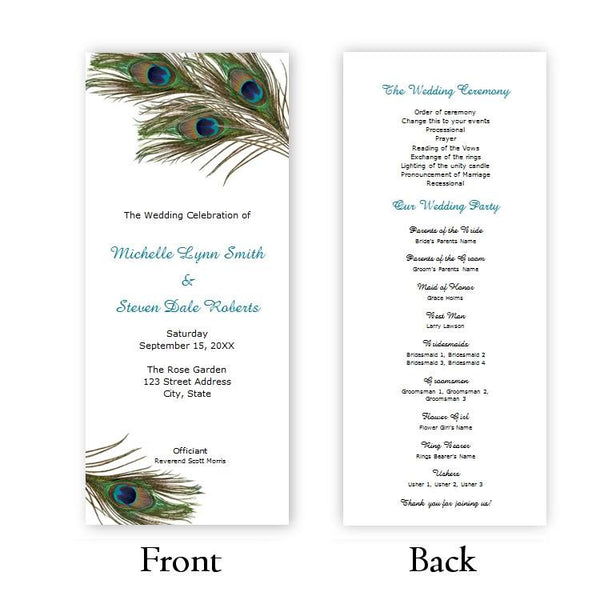 Peacock Feathers Tea Length Wedding Program Template