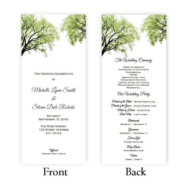 Spring Trees 2 Tea Length Wedding Program Template