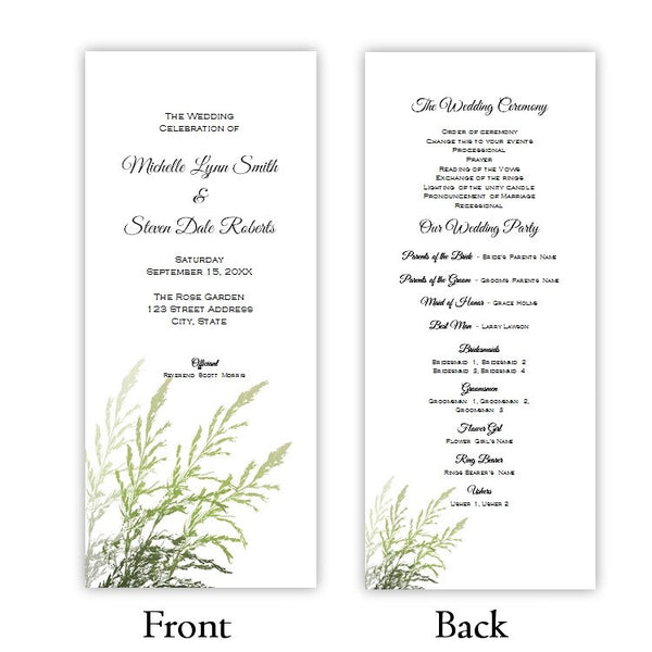 Beach Grass Tea Length Wedding Program