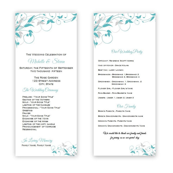 Teal & Gray Flourish Tea Length Wedding Program