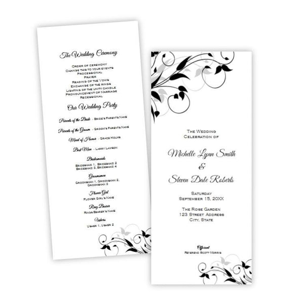 Tiffany Design Tea Length Wedding Program