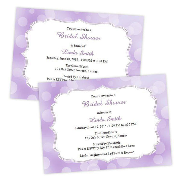 Purple Bokeh Dots Bridal Shower Invitation