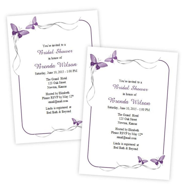 Purple Butterflies Bridal Shower Template