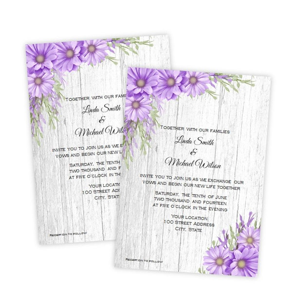 Purple Daisies Wedding Invitation Template