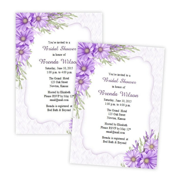 Purple Daisies Bridal Shower Invitation Template